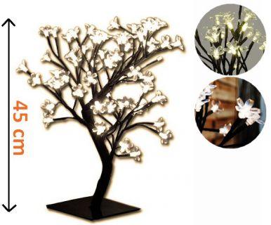 Dekoratív LED világítás - fa virágokkal, meleg fehér