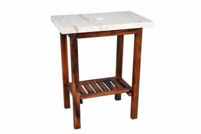 Fürdőszoba asztalka DIVERO - teakfából + márvány asztallap
