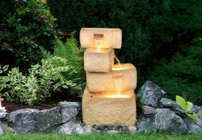 Kerti csobogó - szökőkút 4 kő vályúból, szivattyúval és megvilágítással