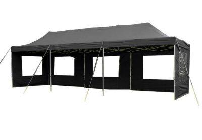 Kerti parti sátor – fekete pavilon 3 x 9 m + oldalfalak