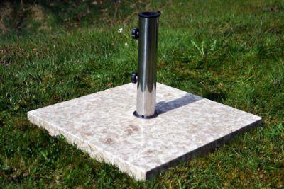 Négyzet alakú napernyőtalp márványból és rozsdamentes acélból, 25 kg