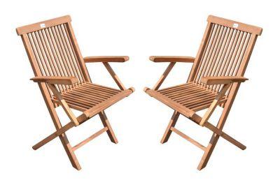 Kerti szék összecsukható DIVERO 2db - teak fa