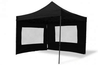 Összecsukható kerti sátor PROFI – fekete, 3 x 3 m