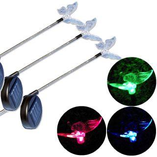 Kerti szoláris lámpakészlet, pillangó, 3 db