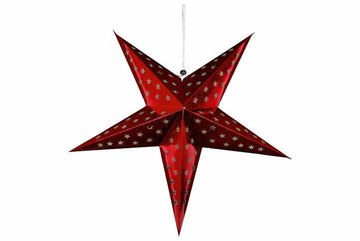 Karácsonyi dísz - csillag időzítővel 60 cm - 10 LED, piros
