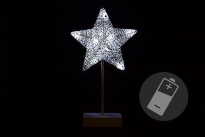 Karácsonyi csillag állvánnyal 40cm/10x LED - hideg fehér