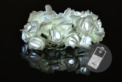 Dekoratív LED világítás - rózsa - 20 LED, hideg fehér