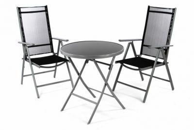 Kerti erkély készlet szék és asztal GARTH - fekete