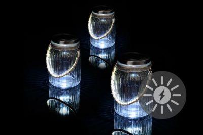 Készlet 3 db napelemes világítás - függesztékes üveges világítás