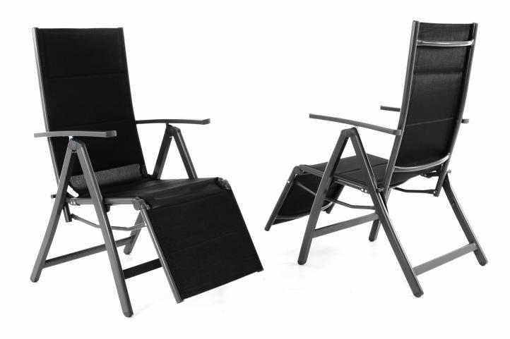 Kerti összecsukható székek DELUXE 2 db - fekete
