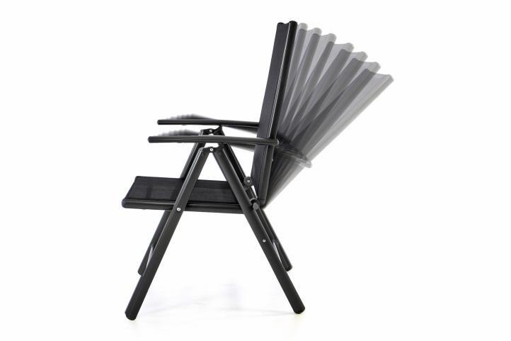 Kerti szék GARTH + lábtartó - fekete