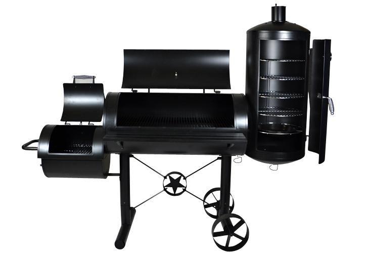 Kerti grillsütő XXL mozdony + füstölő - faszenes