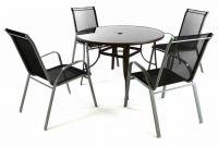 Kerti kézslet GARTHEN -  4 szék + asztal - fekete