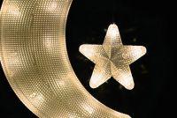 Karácsonyi dekoráció - hold csillagal - hideg fehér
