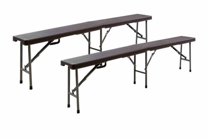 Kerti készlet GARTHEN asztal + 2 pad - sötét