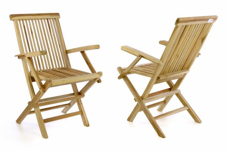 Kerti szék összecsukható DIVERO® 2 db - tíkfa