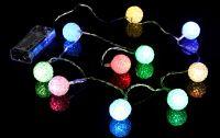 Karácsonyi dísz - 10 LED fénygömb - színes
