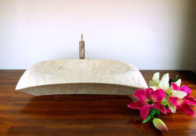 DIVERO Mosdókagyló természetes kőből - Verona