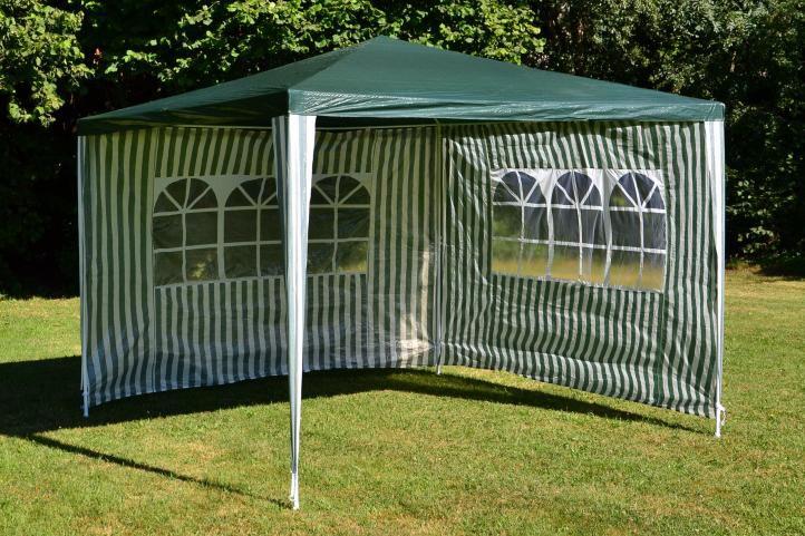 Kerti sátor GARTHEN 3 x 3 m + 2 oldalfallal - zöld