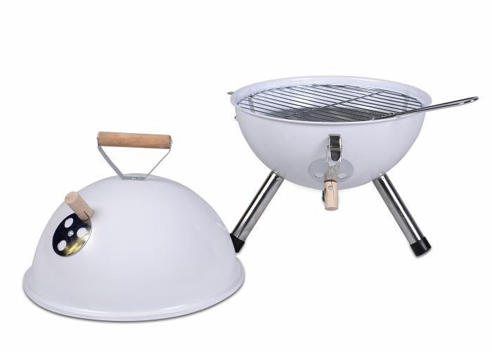 Kerti kerek mini grillsütő – fehér