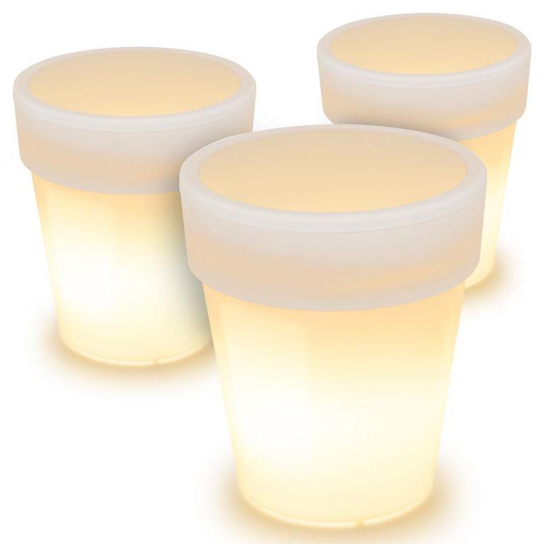 Napelemes világítás 3db virágtartó 19 x 17 cm meleg fehér