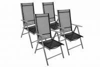 Alumínium összecsukható szék készlet Garth - fekete, 4 db
