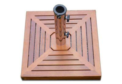 Napernyőtalp (négyszögletű) - gránit/rozsdamentes acél, faburkolattal, 25 kg
