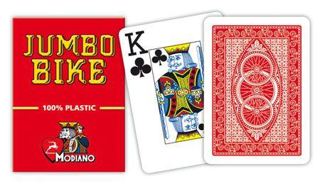 Modiano BIKE TROPHY 2 sarok 100% műanyag kártyák - Piros