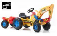 Traktor G21 CLASSIC utánfutóval + kotrógép - sárga/kék