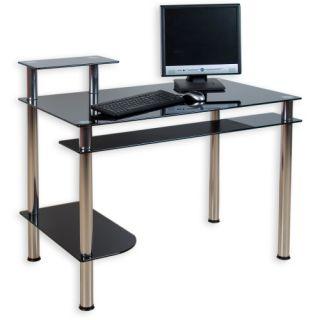 Üveg irodai asztal számítógépre KLASIK fekete