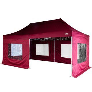 Kerti party sátor oldalfalakkal - bordó, 3 x 6 m
