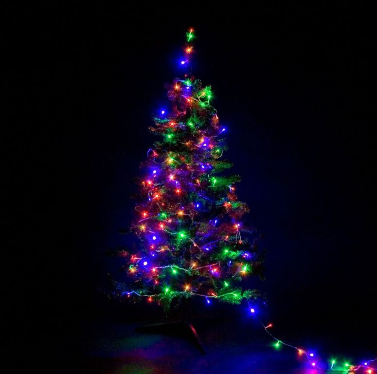 Karácsonyi LED fényfüzér 10 m - színes 100 LED