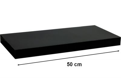 Fali polc  STILISTA VOLATO - fényes fekete 50 cm