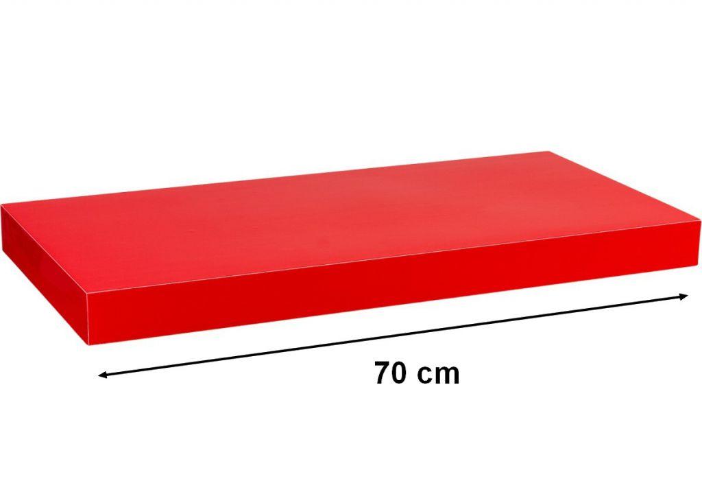 Fali polc STILISTA VOLATO - fényes piros 70 cm