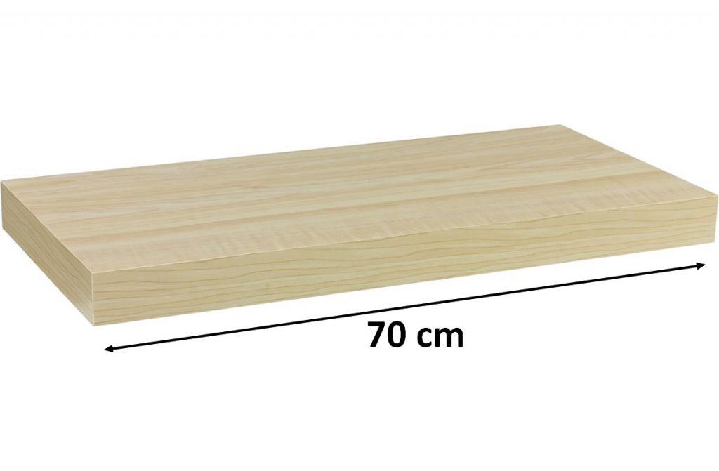 Fali polc STILISTA VOLATO - világos fa 70 cm