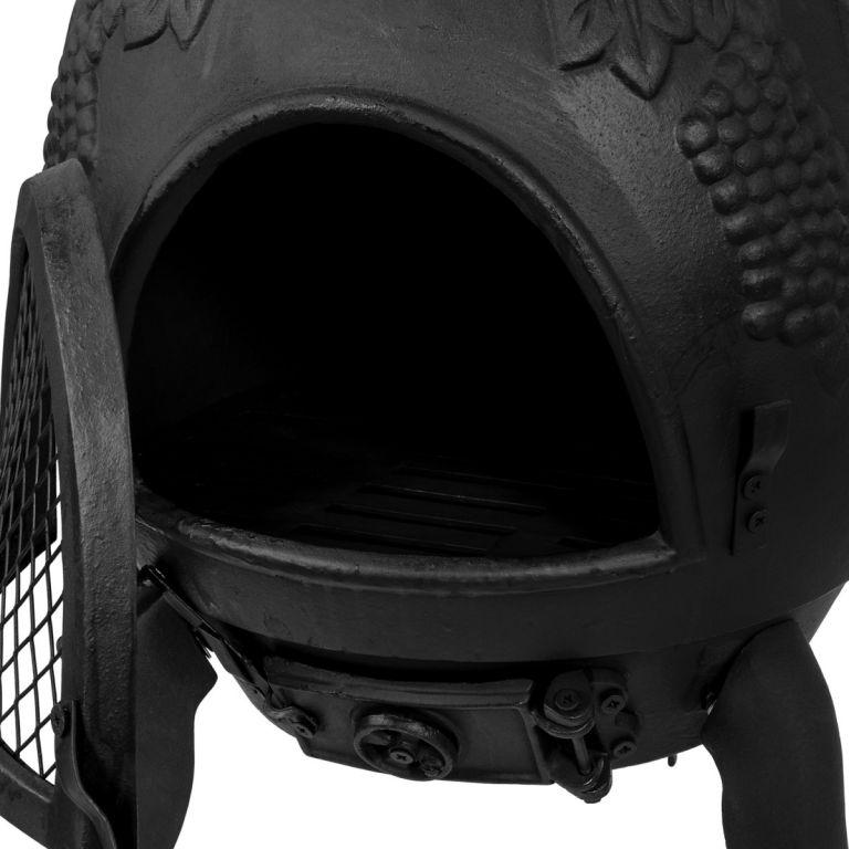 TERA Kültéri kerti grill öntöttvas 120 cm fekete