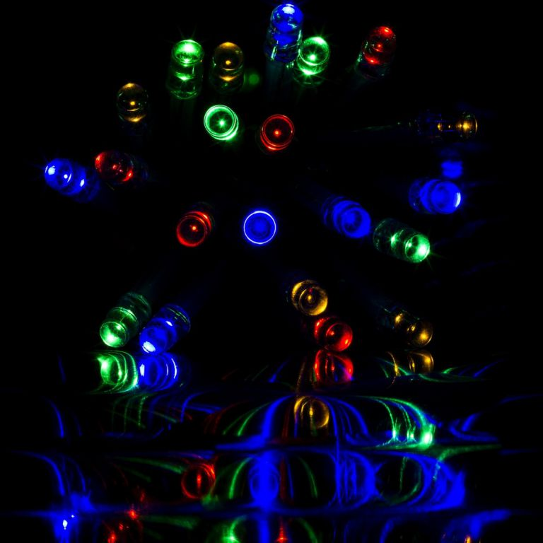 Karácsonyi LED világítás 20 m - színes 200 LED - zöld kábel