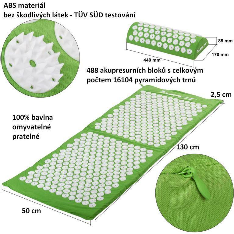 Akupresszúrás matrac MOVIT® 130 x 50 cm - zöld