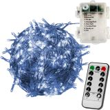 Karácsonyi LED fényfüzér 10 m - hideg fehér 100 LED - akku, távirányító