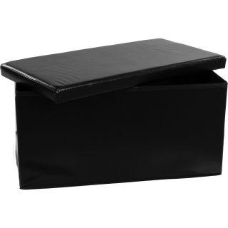 Összecsukható pad tároló helyel - fekete