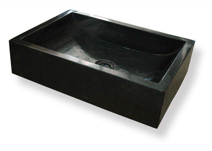 Mosdókagyló természetes kőből - VESTER Black