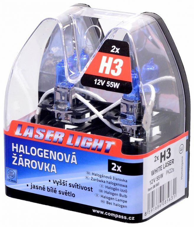 Izzó 12V, H3 55W Pk22s WHITE LASER 2 db