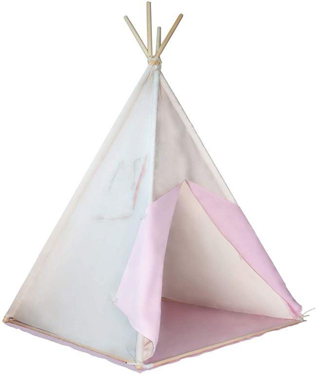 Gyereksátor Teepee 110 x 110 cm - rózsaszín/bézs