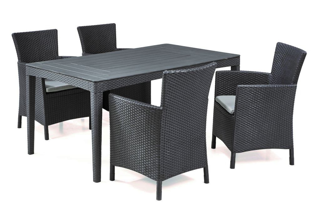 Kerti rattan asztal GIRONA - cappuccino